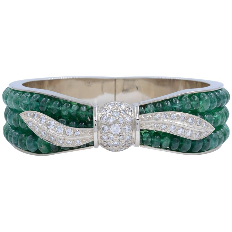 Vintage Green Emerald and White Diamonds Ladies White Gold Bangle Bracelet