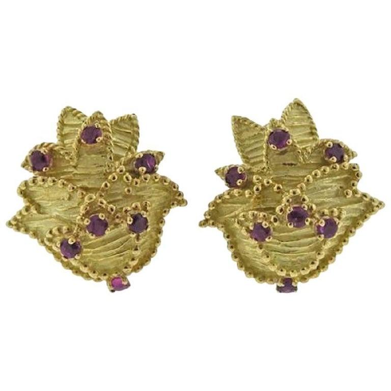 1960s Tiffany & Co. Gold Ruby Earrings