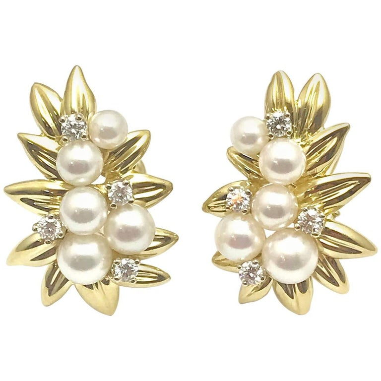 Tiffany & Co. Cultured Pearl and Diamond Gold Leaf Clip Earrings