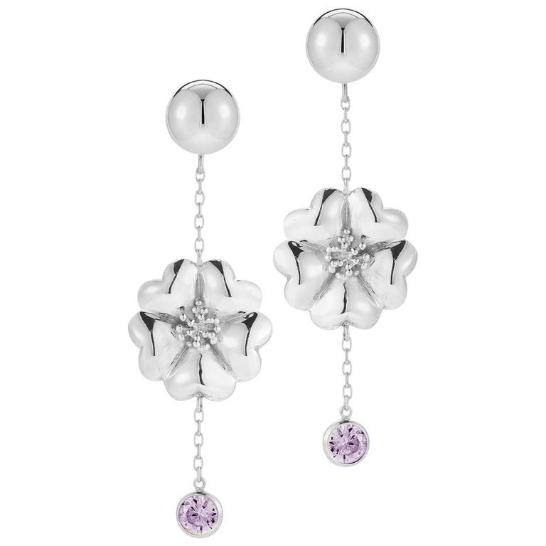 .925 Sterling Silver 2 x 6 mm Amethyst Blossom Stone Chain Earrings