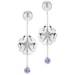 Dark Blue Sapphire Blossom Stone Chain Earrings