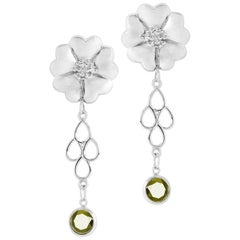 Olive Peridot Blossom Chandelier Earrings