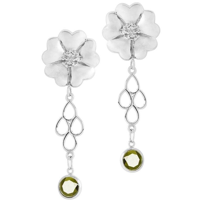 .925 Sterling Silver 2 x 6 mm Olive Peridot Blossom Chandelier Earrings