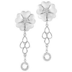 .925 Sterling Silver 2 x 6 mm White Sapphire Blossom Chandelier Earrings