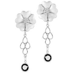 Black Sapphire Blossom Chandelier Earrings