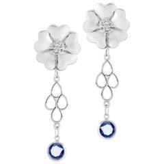 Dark Blue Sapphire Blossom Chandelier Earrings