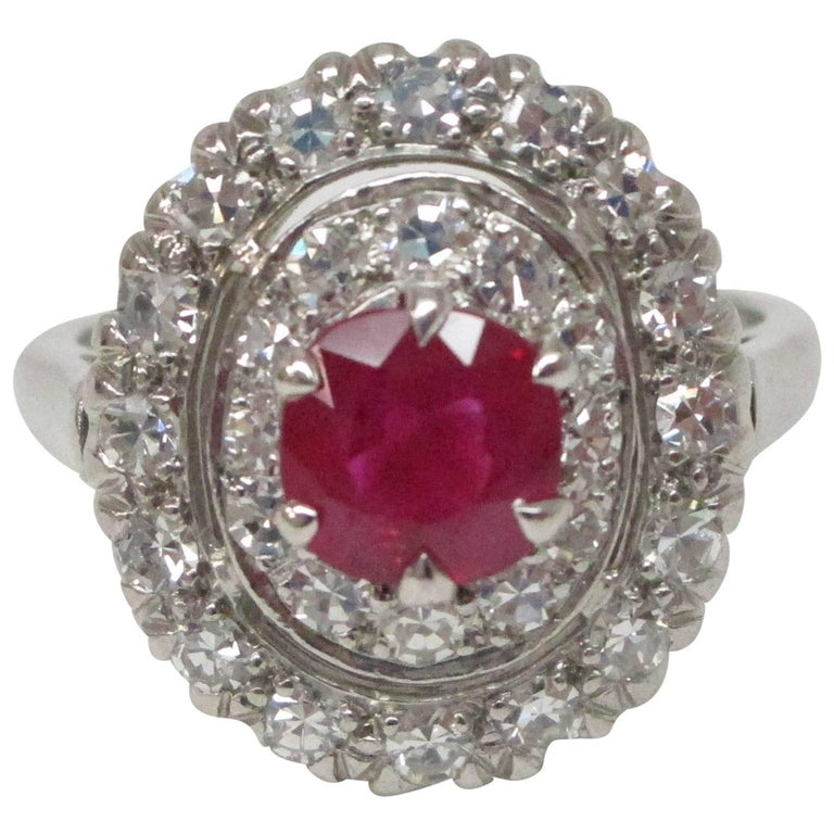 GIA Certified 0.97 Carat Burma Ruby Diamond Platinum Ring