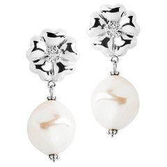 .925 Sterling Silver Small Blossom Natural Pearl Earrings