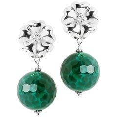 .925 Sterling Silver Blossom Jade Earrings