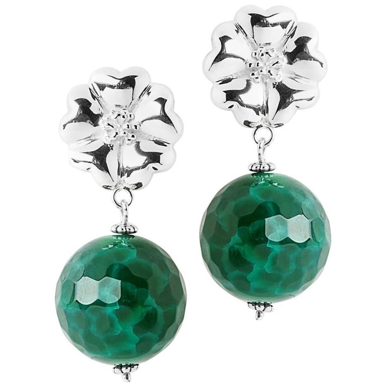 925 Sterling Silver Blossom Jade Earrings For