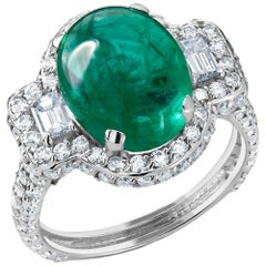 18k Ring Cabochon Emerald 5.20 Carat and Diamond Cluster Cocktail Ring