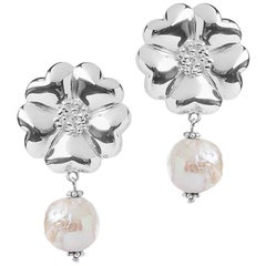 .925 Sterling Silver 2 x 10 mm Large Blossom Natural Pearl Earrings
