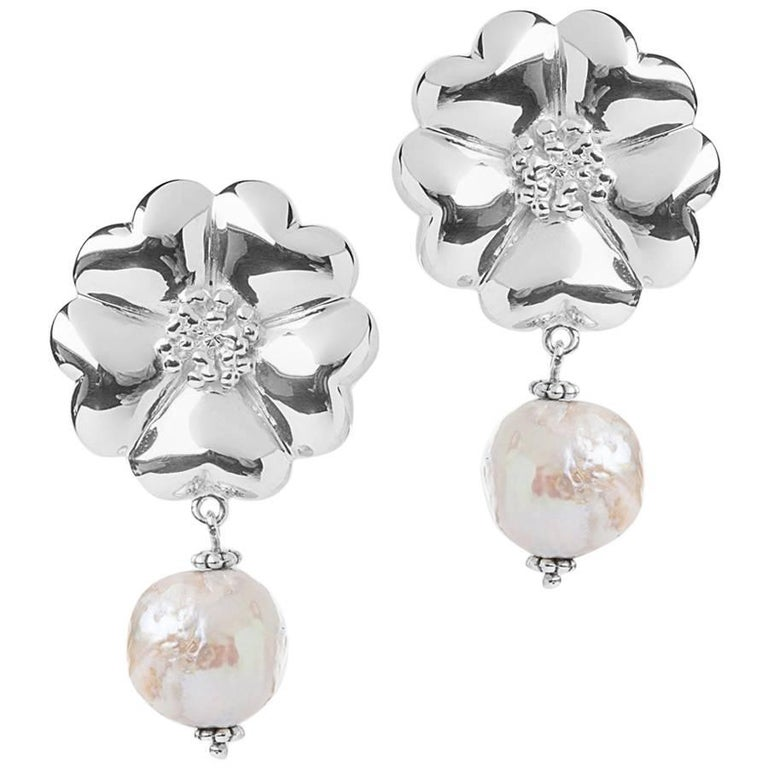 .925 Sterling Silver 2 x 10 mm Large Blossom Natural Pearl Earrings For Sale