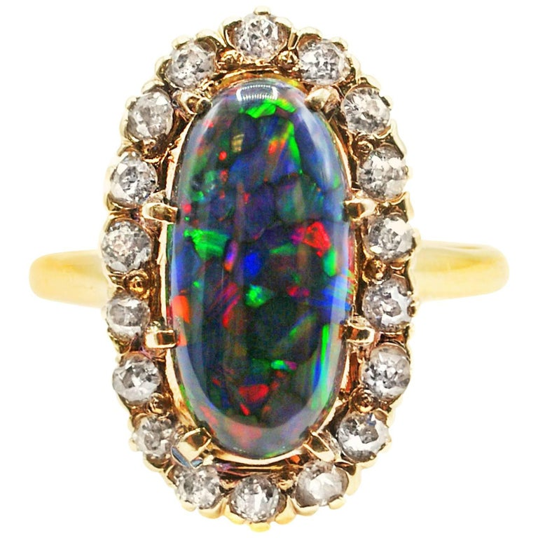 Harlequin Black Opal Victorian Diamond Gold Ring, circa 1880