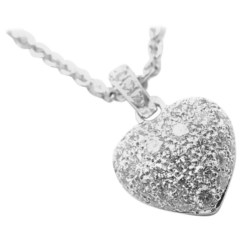7d750d30752 Cartier Diamond Pave Large Heart White Gold Pendant Necklace For Sale