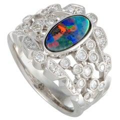 Opal and Diamond Platinum Band Ring