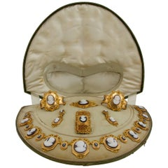 French King Louis-Philippe Era Mythology Cameo Gold Parure Original Fitted Case