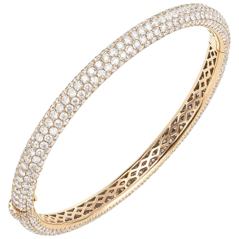 Rose Gold Pave Diamond Bangle Bracelet For