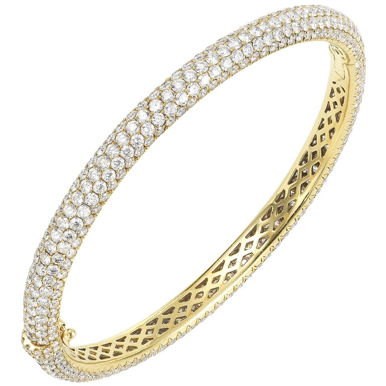 Yellow Gold and Pave Diamond Bangle Bracelet For Sale