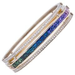 """Mélodie Céléste"" Yellow Gold Bracelet With Rainbow Sapphires and Diamonds"