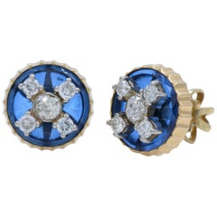 Old Miner Vintage Cut Diamond Stud Blue Yellow Gold Earrings