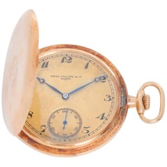 Patek Philippe Yellow Gold Hunting Case Metal Dial Manual Pocket Watch