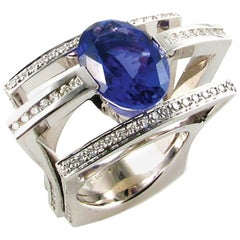 """Chanson Océane"" White Gold Ring With Tanzinite and Diamonds"