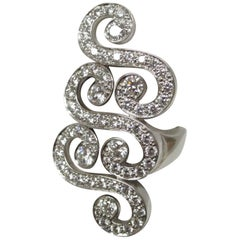 Cartier White Gold Diamond Swirl Ring