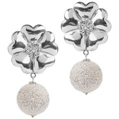 .925 Sterling Silver Large Blossom Starburst Earrings