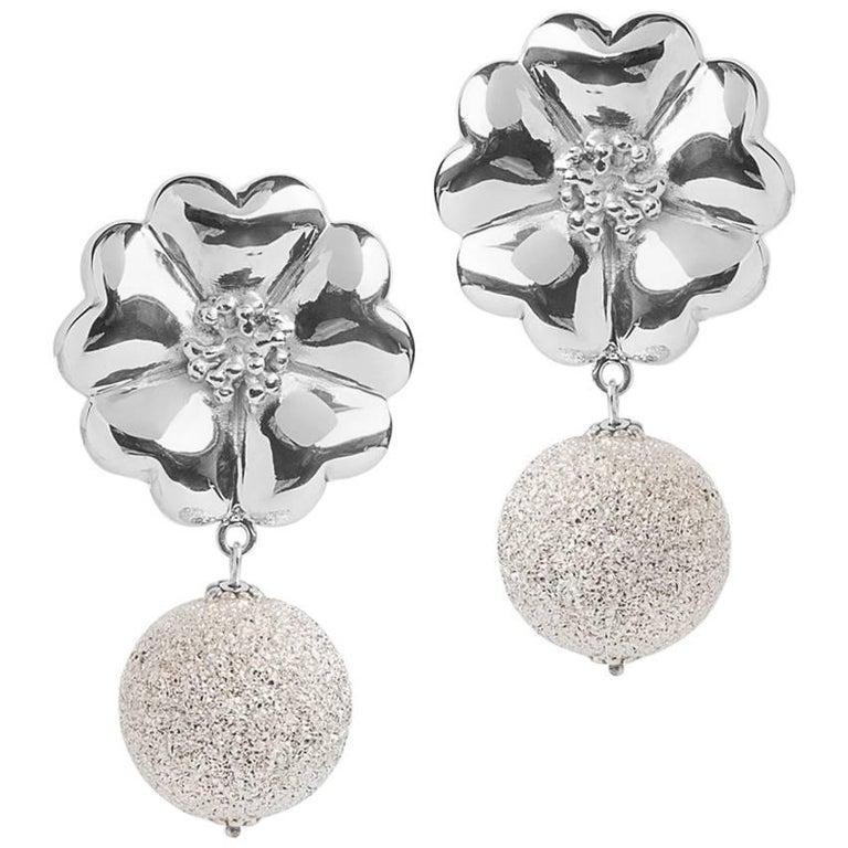 .925 Sterling Silver Large Blossom Starburst Earrings For Sale
