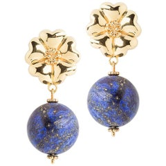 14k Yellow Gold Vermeil 2 x 15 mm Blossom Lapis Earrings