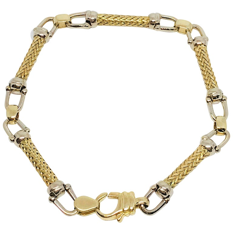 14 Karat Gold Two-Tone Ladies Bracelet