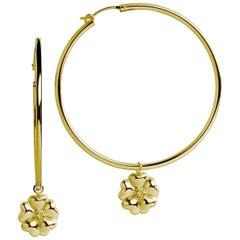 14k Yellow Gold Vermeil Blossom Dangle Hoops