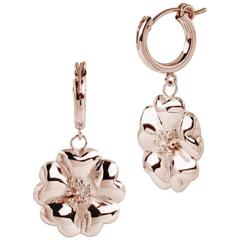 14 Karat Rose Gold Vermeil Blossom Small Hoop Dangle Earrings
