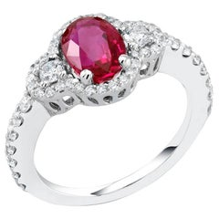 Platinum Burma Ruby Diamond No Indication of Heat Cocktail Ring GIA Certified