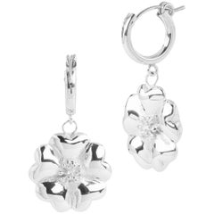 .925 Sterling Silver Blossom Small Hoop Dangle Earrings