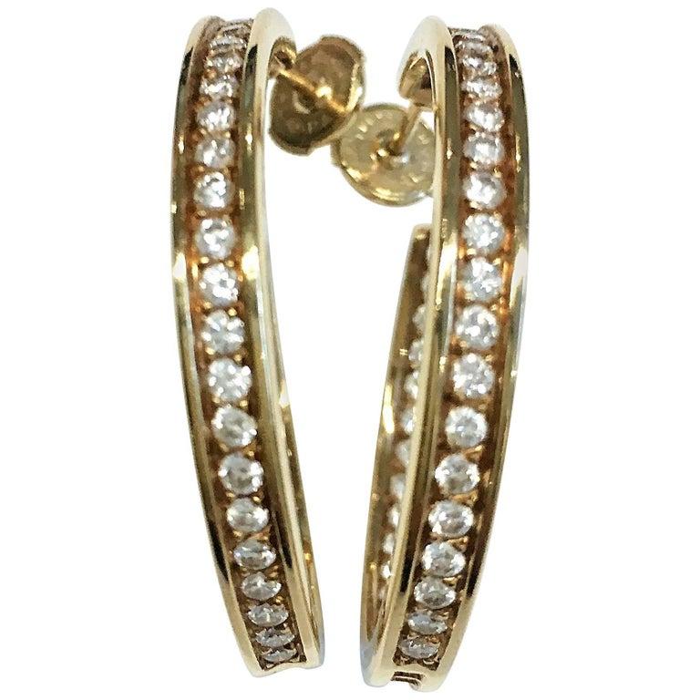 Pair of Cartier Diamond Yellow Gold Hoop Earrings
