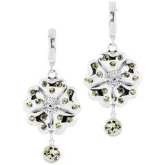 Olive Peridot Blossom Small Hoop Earrings