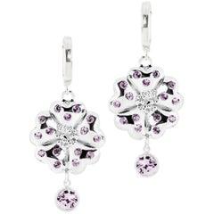 .925 Sterling Silver 2 x 6 mm Amethyst Blossom Small Hoop Earrings