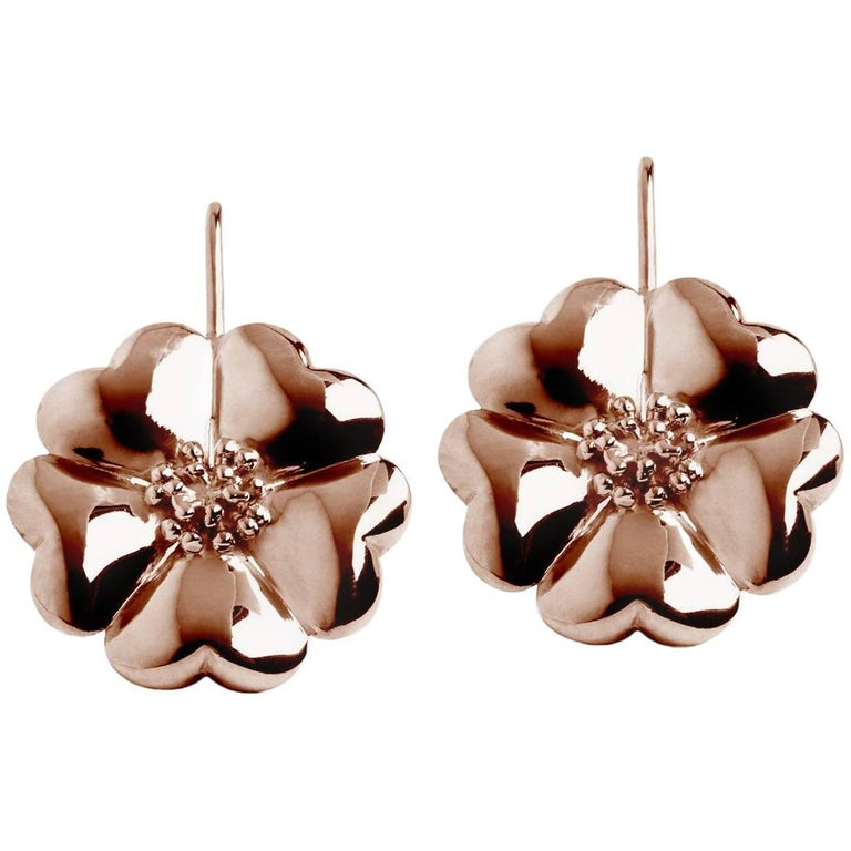 14k Rose Gold Vermeil Blossom Wire Hook Earrings