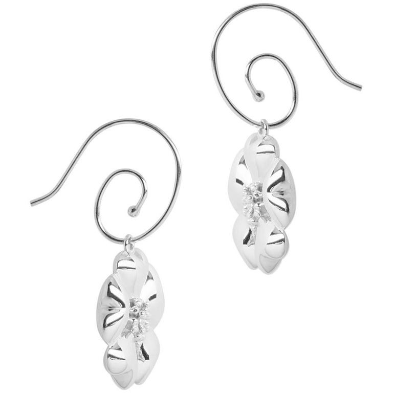 .925 Sterling Silver Blossom Circular Earwires