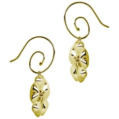 14k Yellow Gold Vermeil Blossom Circular Earwires