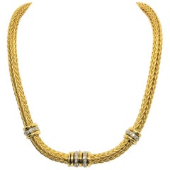 18 Karat Yellow and White Gold Diamond Choker Necklace