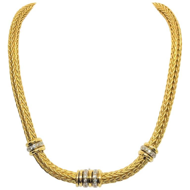 18 Karat Yellow and White Gold Diamond Choker Necklace