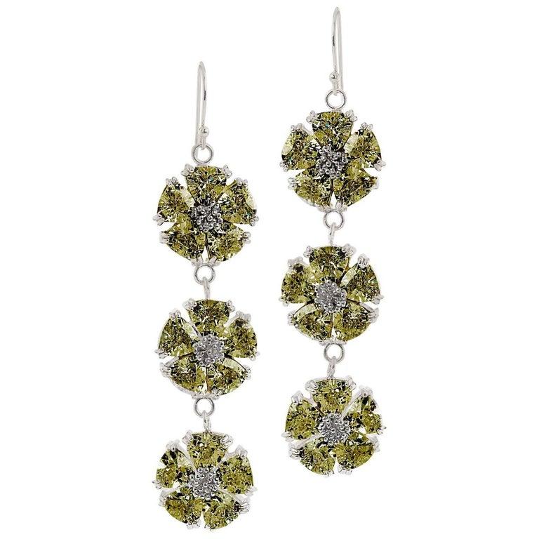 .925 Sterling Silver 30 x 7 mm Olive Peridot Triple Blossom Bling Earrings