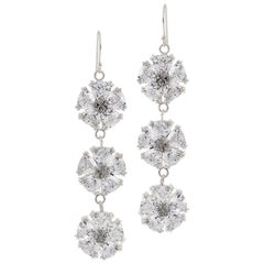 White Sapphire Triple Blossom Bling Earrings