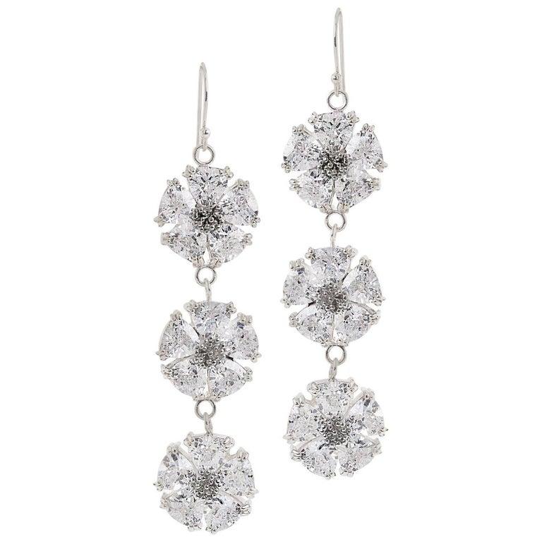 .925 Sterling Silver 30 x 7 mm White Sapphire Triple Blossom Bling Earrings
