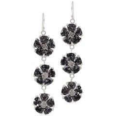 Black Sapphire Triple Blossom Stone Bling Earrings