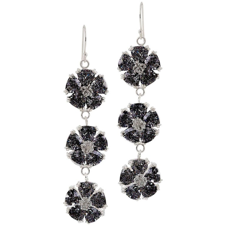 .925 Sterling Silver 30 x 7 mm Black Sapphire Triple Blossom Bling Earrings