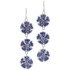 Dark Blue Sapphire Triple Blossom Bling Earrings